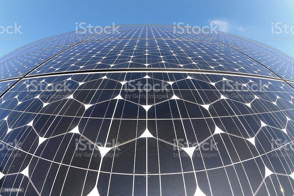 Photovoltaic cells in a solar panel royalty-free stock photo