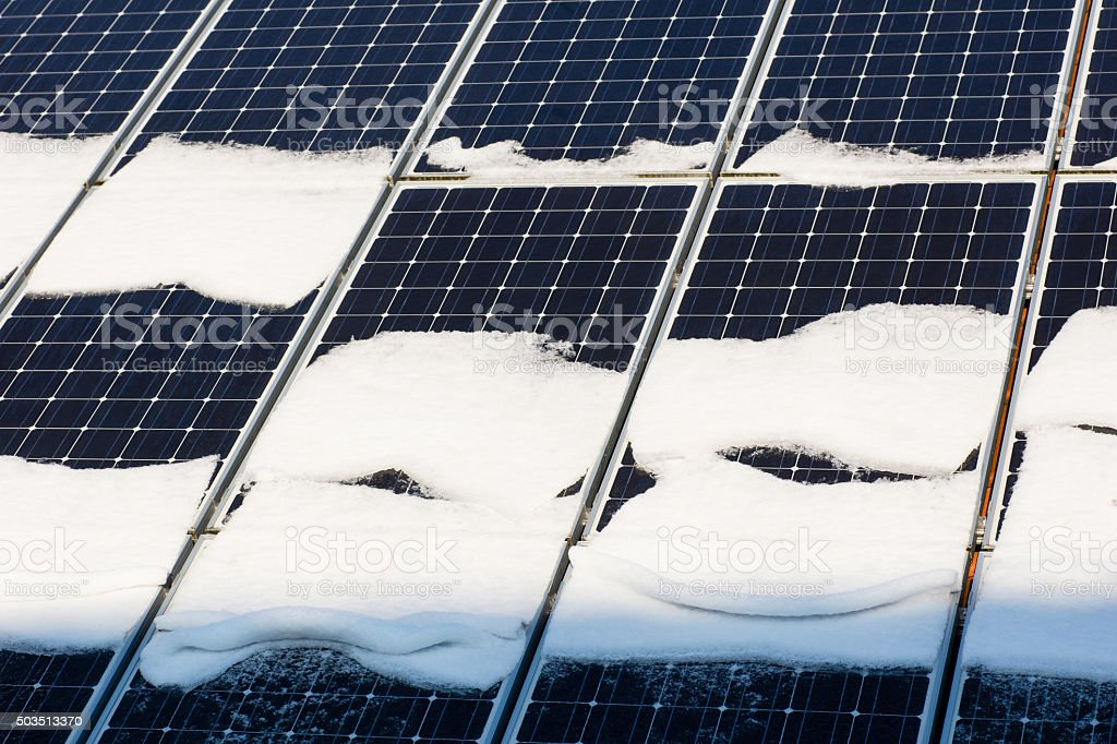 Photovoltaic in winter stock photo
