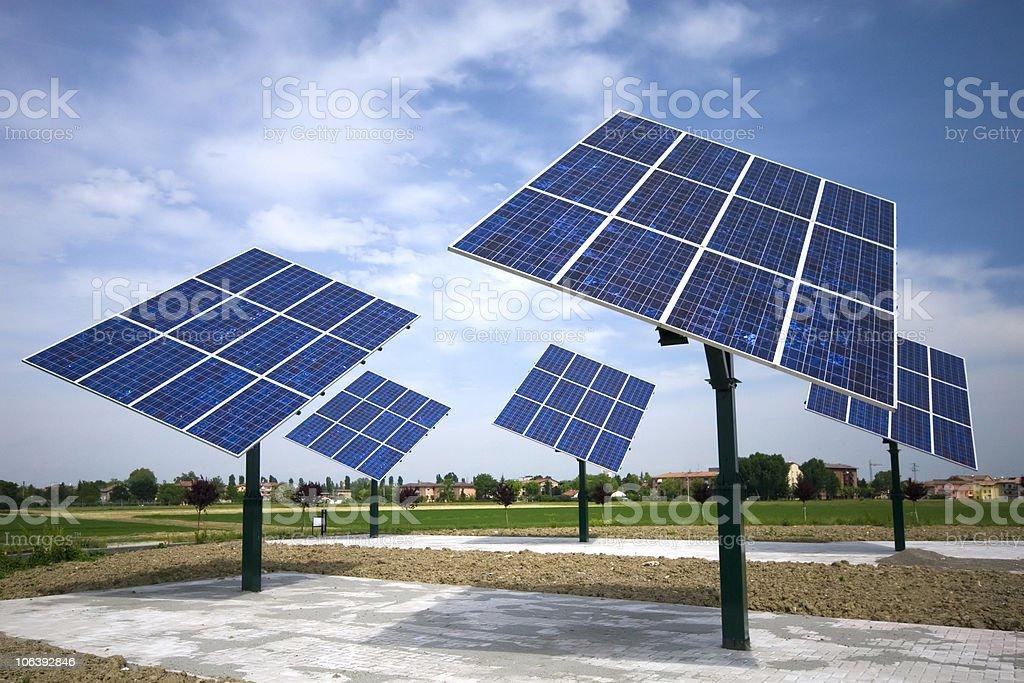 photovoltaic panels rotating stock photo