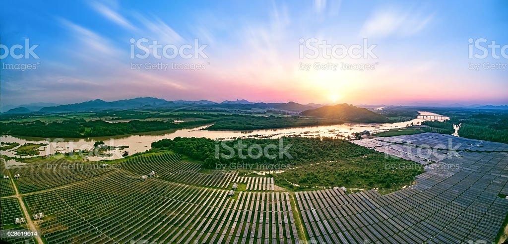 Photovoltaic power plant stock photo