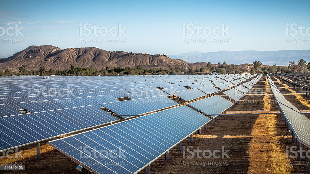 Photovoltaic Solar Array In Rosamond, California stock photo