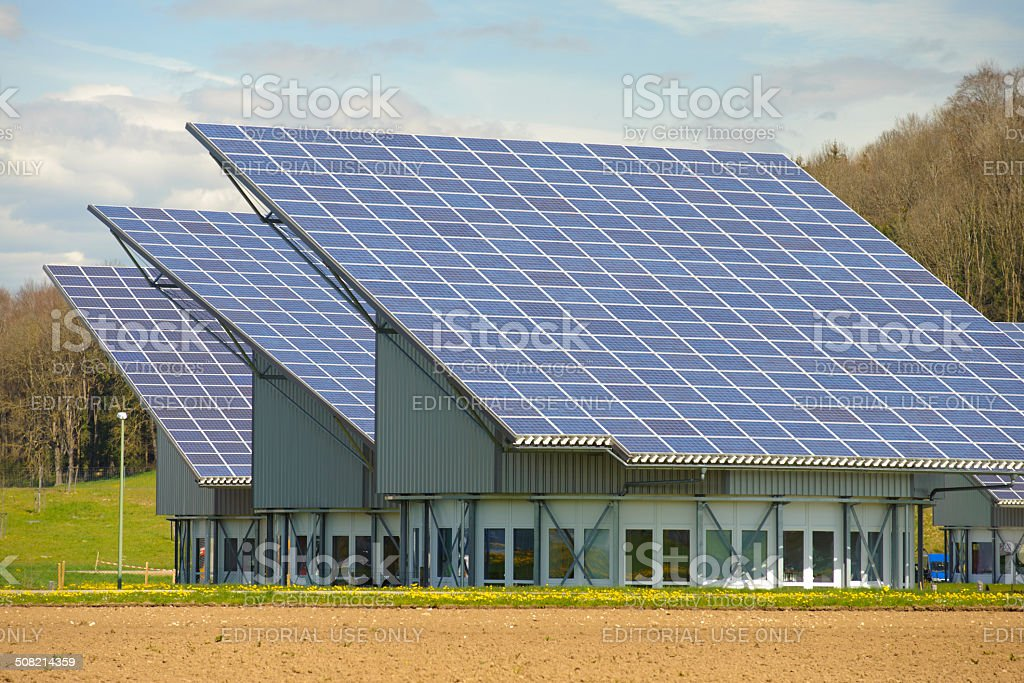 Photovoltaic system on roof stock photo
