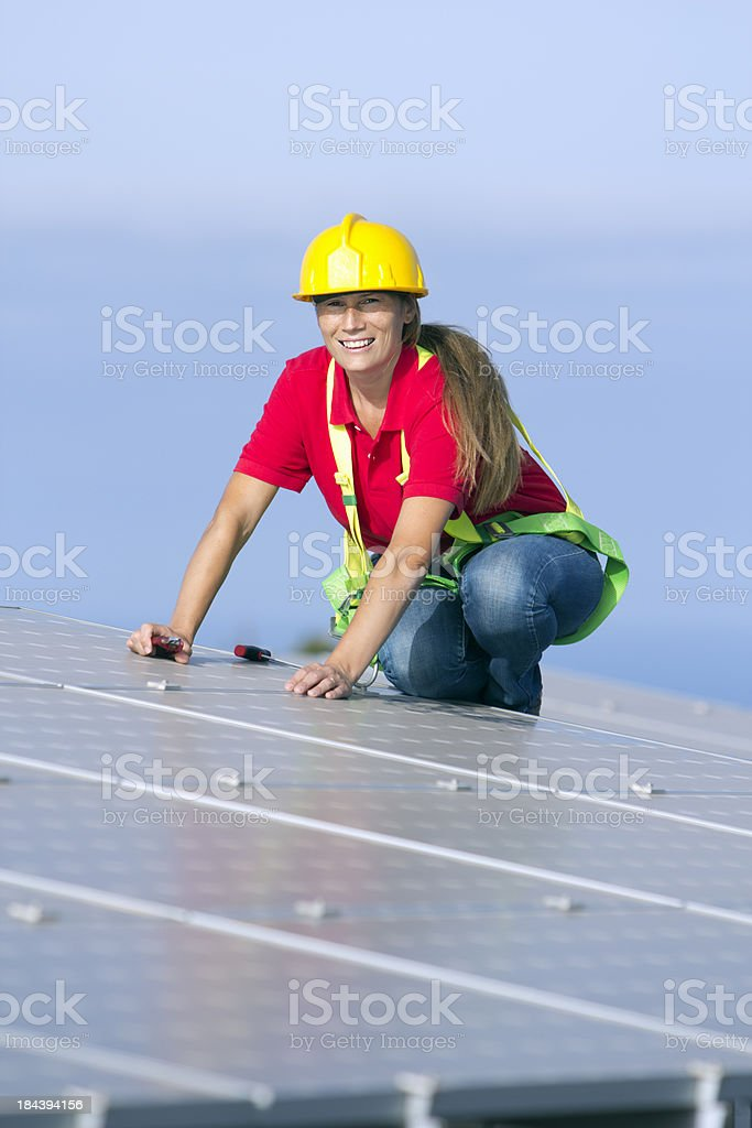 Photovoltaic worker royalty-free stock photo