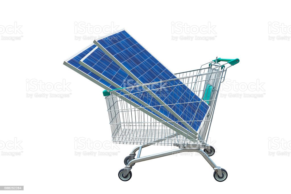 Photovoltaics module in shopping trolley cart isolated on white background. stock photo