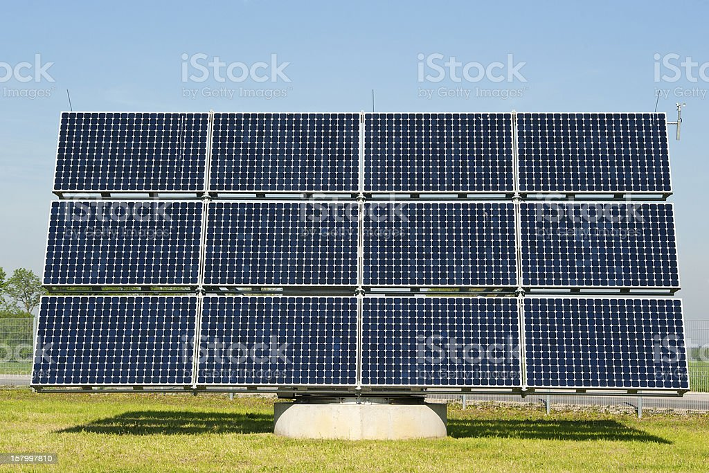 Photovoltaik - renewalbe energy, large solar panel stock photo