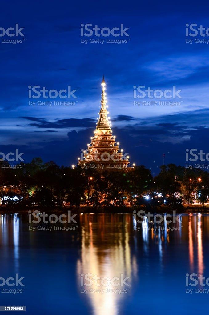 Phra Mahathat Kaen Nakhon at night stock photo