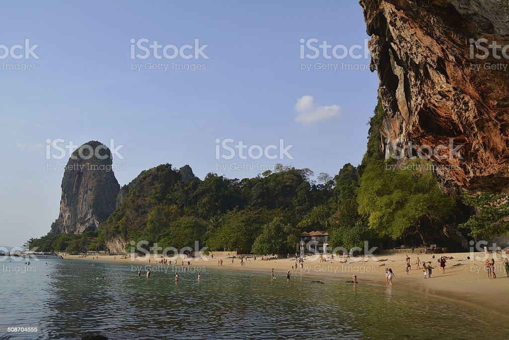Phra nang beach, Krabi coast - Thailand stock photo
