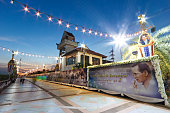 Phra Pradaeng river walk light at night.