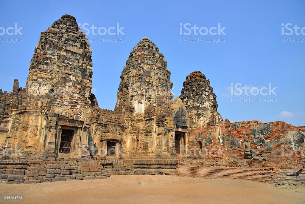 Phra Prang Sam Yod, the religious buildings in Thailand stock photo