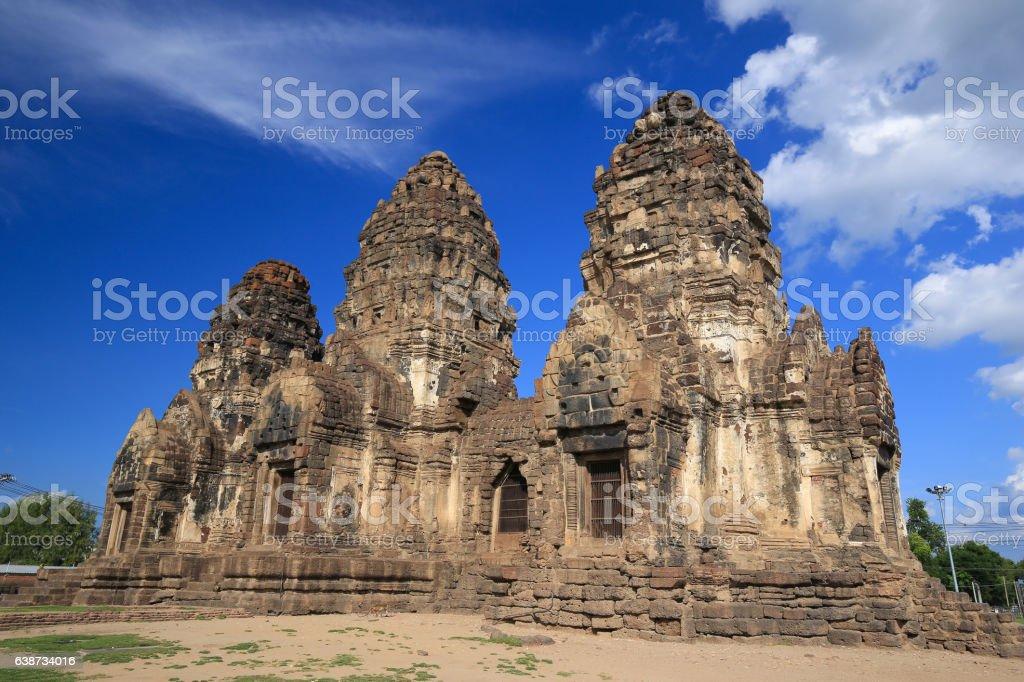 Phra Prang Sam Yot temple, architecture in Lopburi, Thailand stock photo