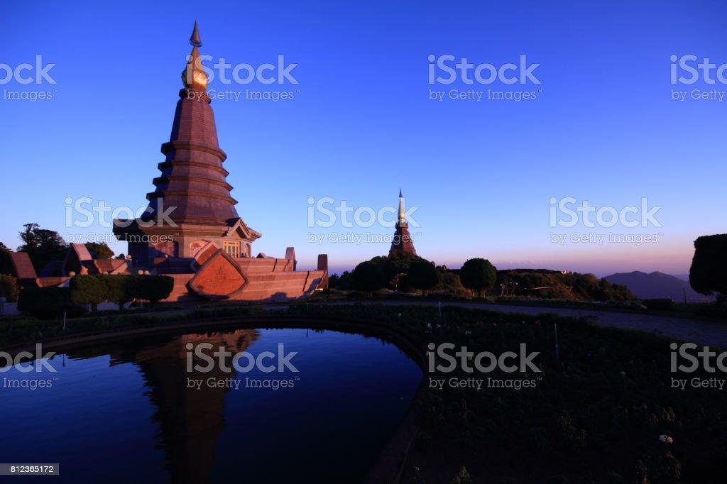Phramahathat Napamathanidol and Phramahathat Napaphol Bhumisiri Stupa. stock photo