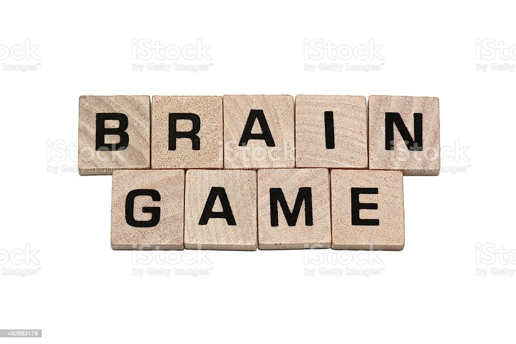 Phrase brain game made with tiles stock photo