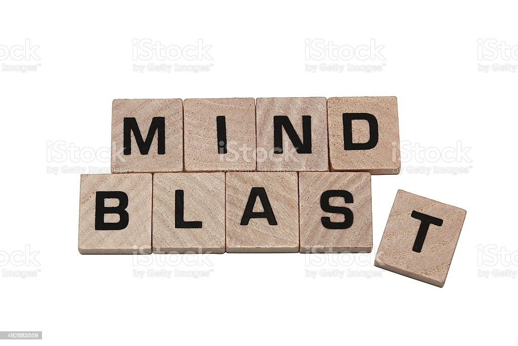 Phrase mind blast made with tiles stock photo