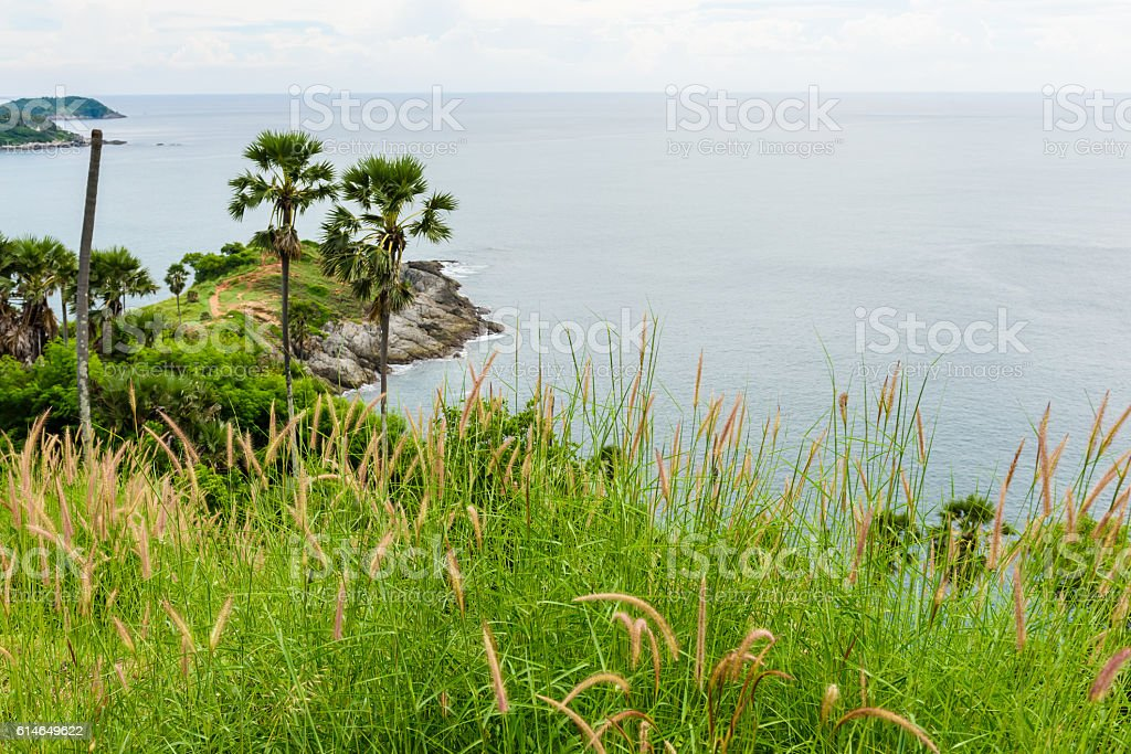 Phromthep cape at sunset Phuket stock photo