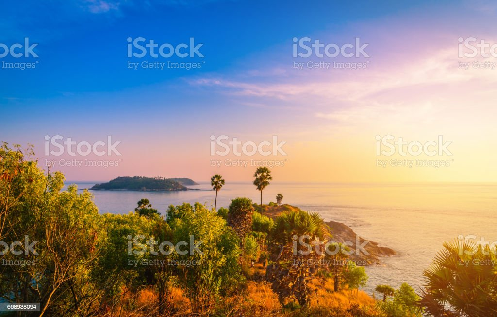 Phromthep cape viewpoint at sunset sky in Phuket,Thailand stock photo