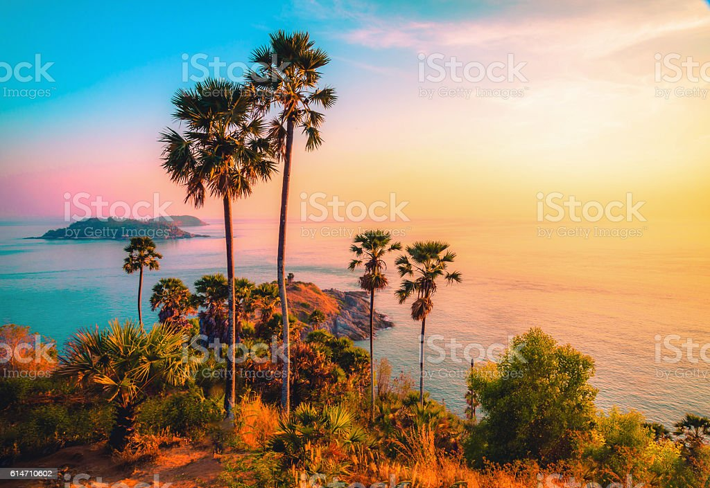 Phromthep cape viewpoint at twilight sky in Phuket,Thailand stock photo