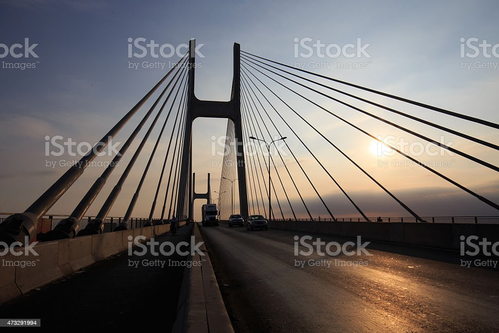 Phu My Bridge silhouette, a cable-stay bridge outlined royalty-free stock photo