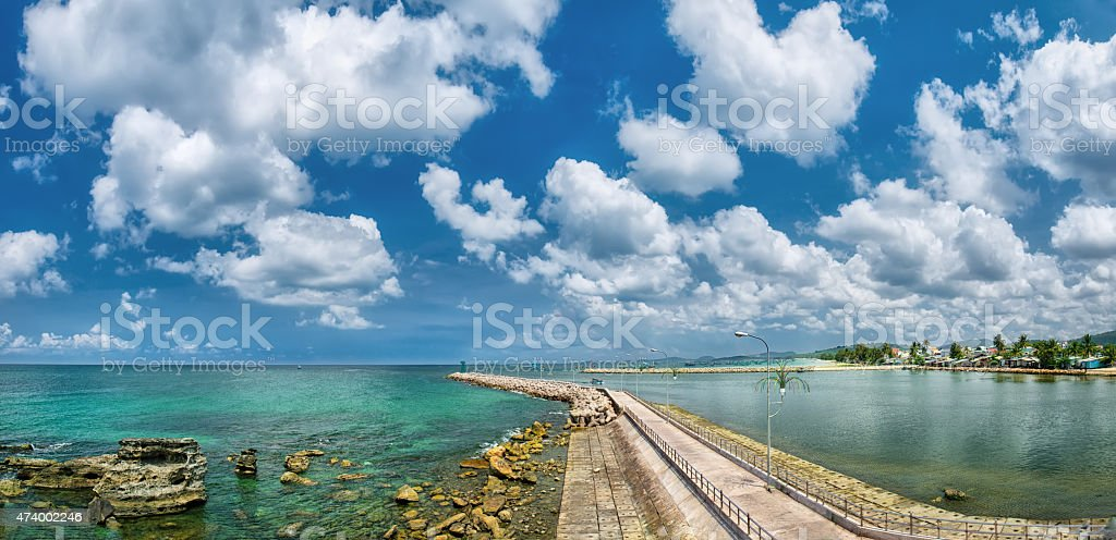 Phu Quoc Dinh Cape pier on a sunny day stock photo