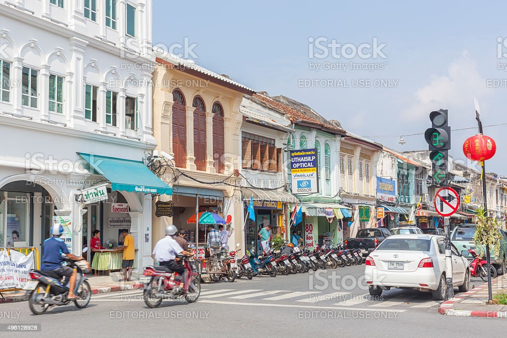 Phuket old town building Chino Portuguese Style stock photo