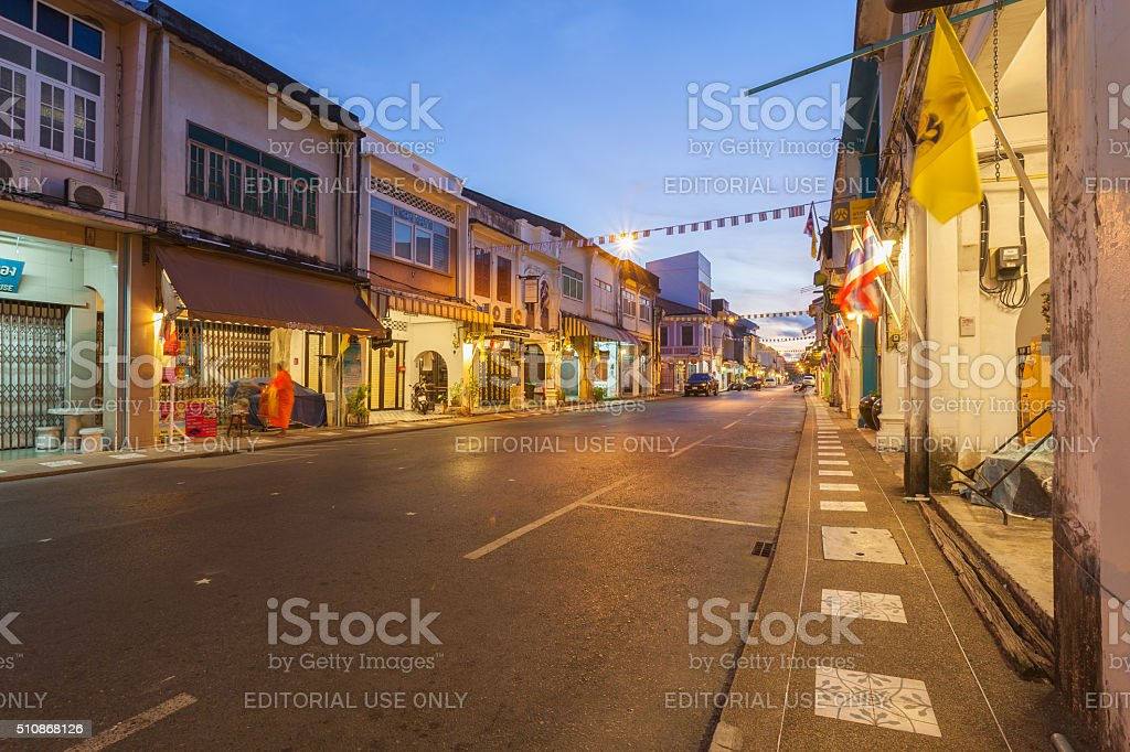 Phuket old town, Thalang road in the morning stock photo