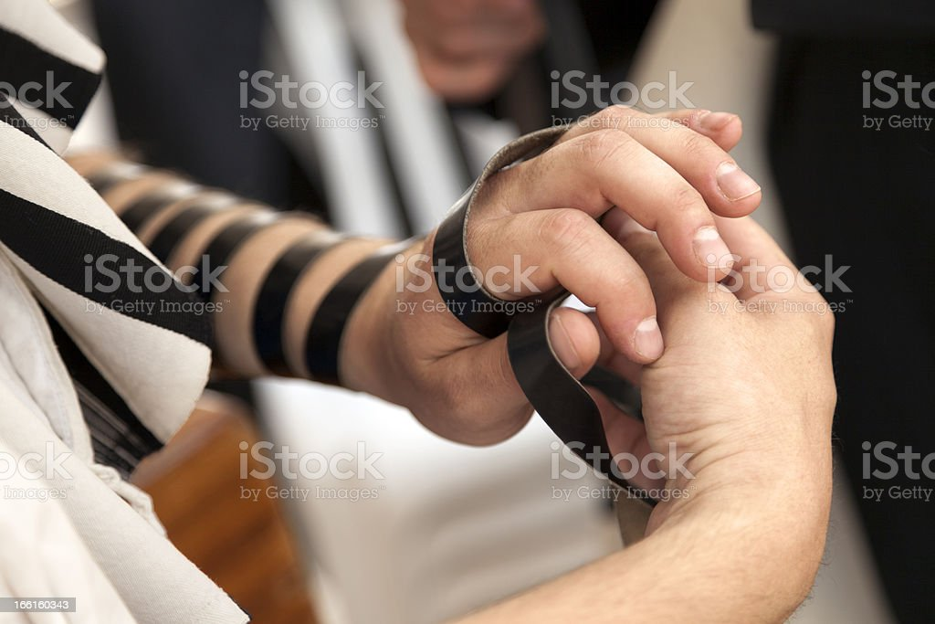 Phylacteries Ceremony Close-Up stock photo