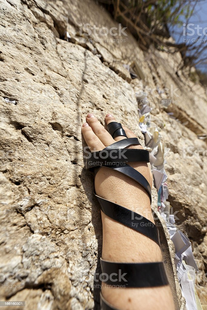 Phylacteries Wrapped Hand on the Western Wall stock photo