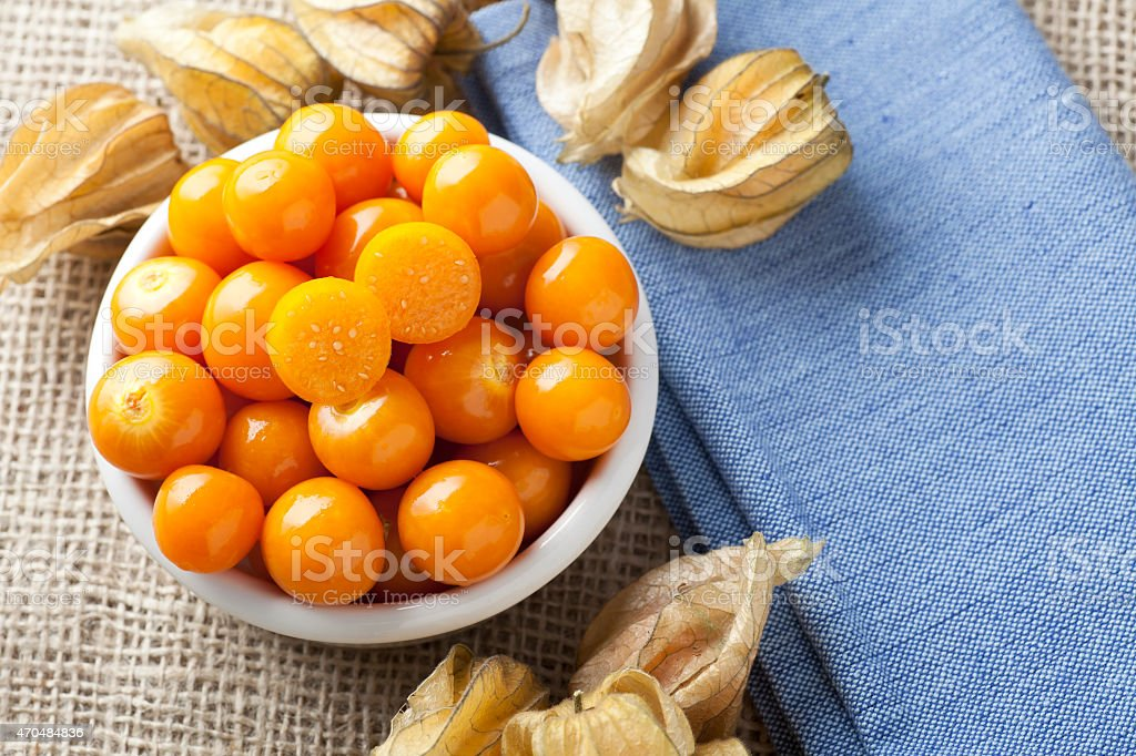 Physalis Fruit in Bowl stock photo