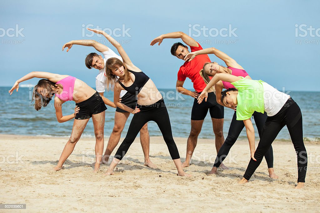 Physical Activity On Beach royalty-free stock photo