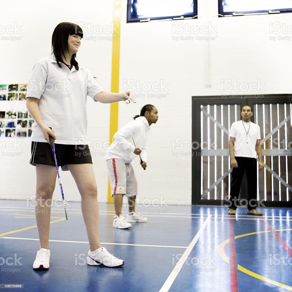 physical education: badminton service royalty-free stock photo