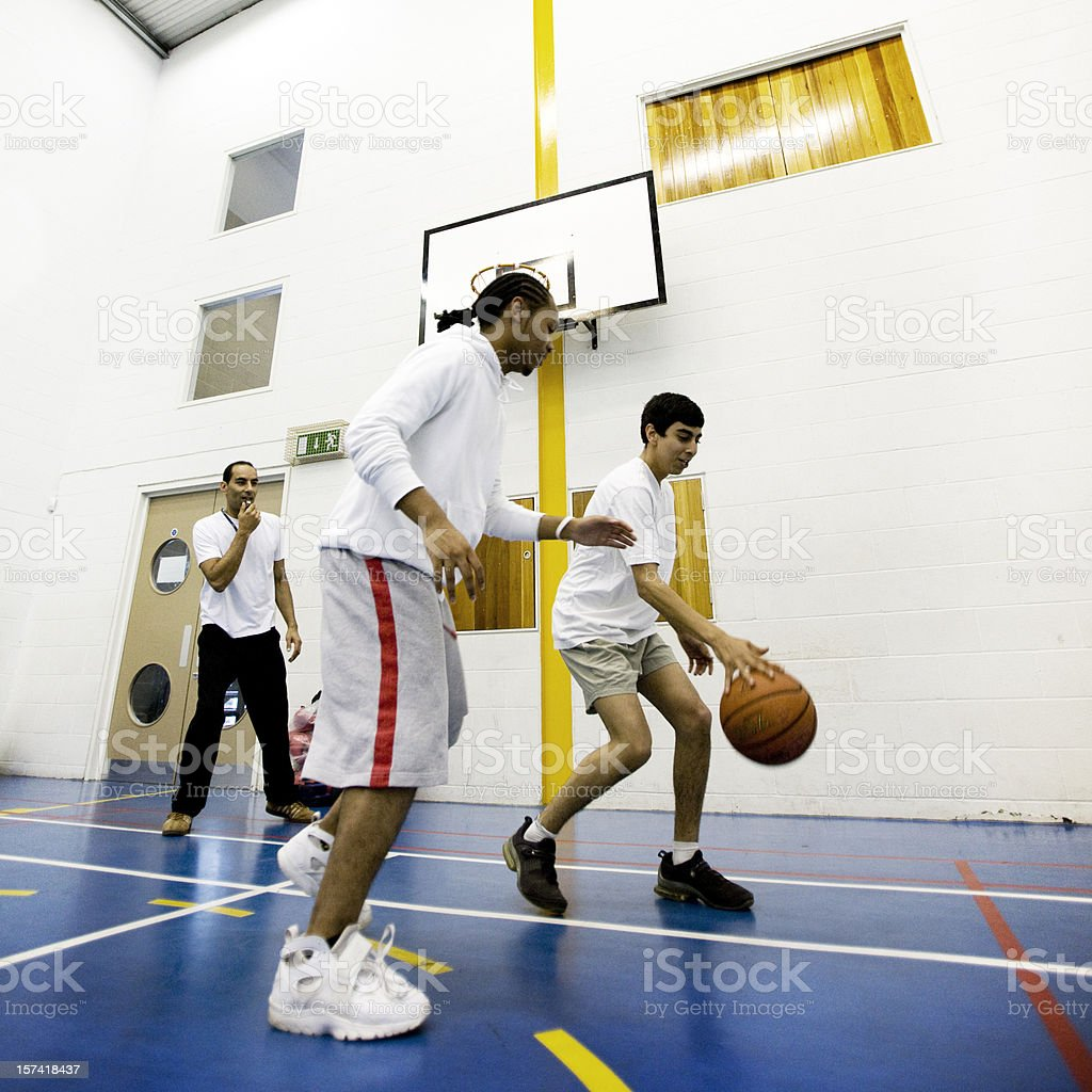 physical education: basketball challenge royalty-free stock photo