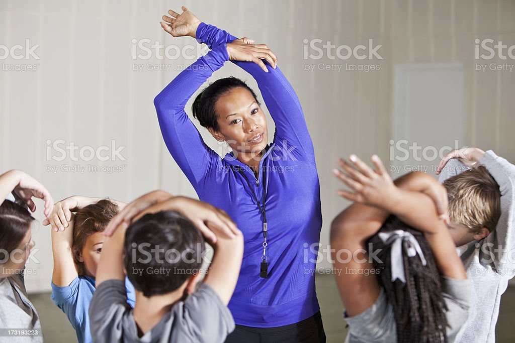 Physical education class stock photo