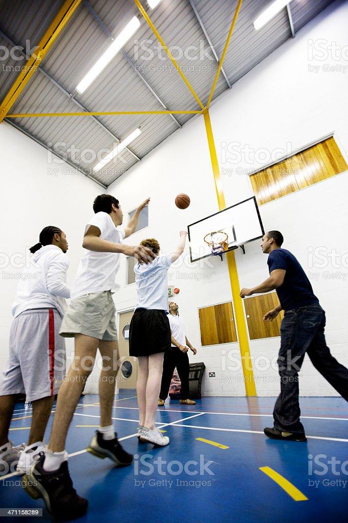 physical education: shooting at goal royalty-free stock photo