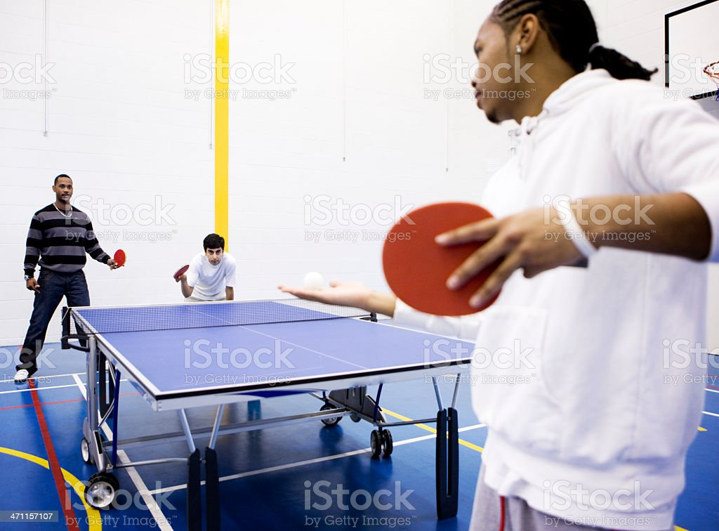 physical education: table tennis service royalty-free stock photo