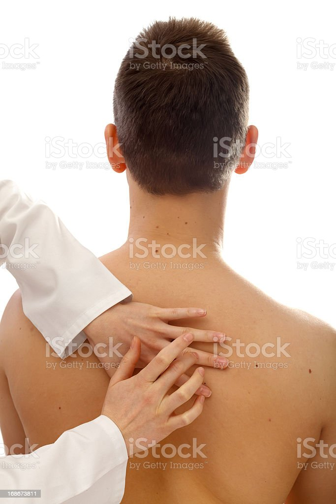 Physical examination of the thorax stock photo