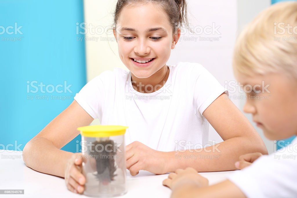 Physical experiment. The joy of discovery. stock photo