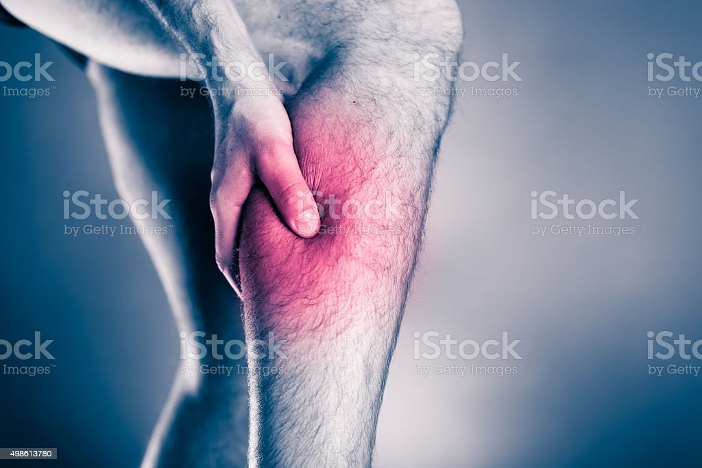 Physical injury, calf leg pain stock photo