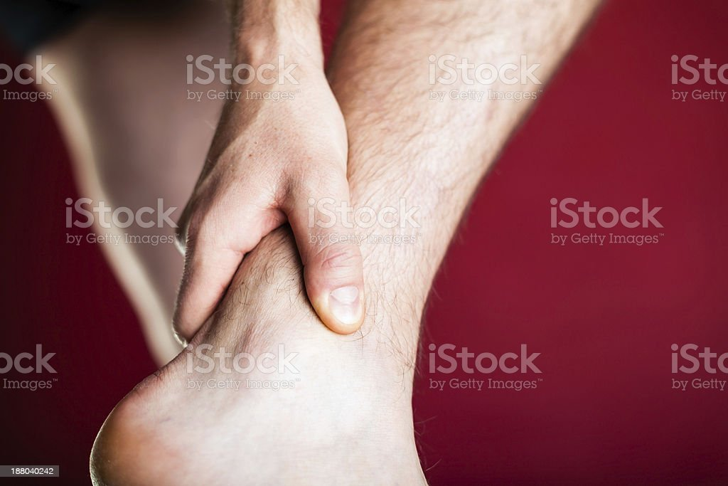 Physical injury, leg ankle pain royalty-free stock photo
