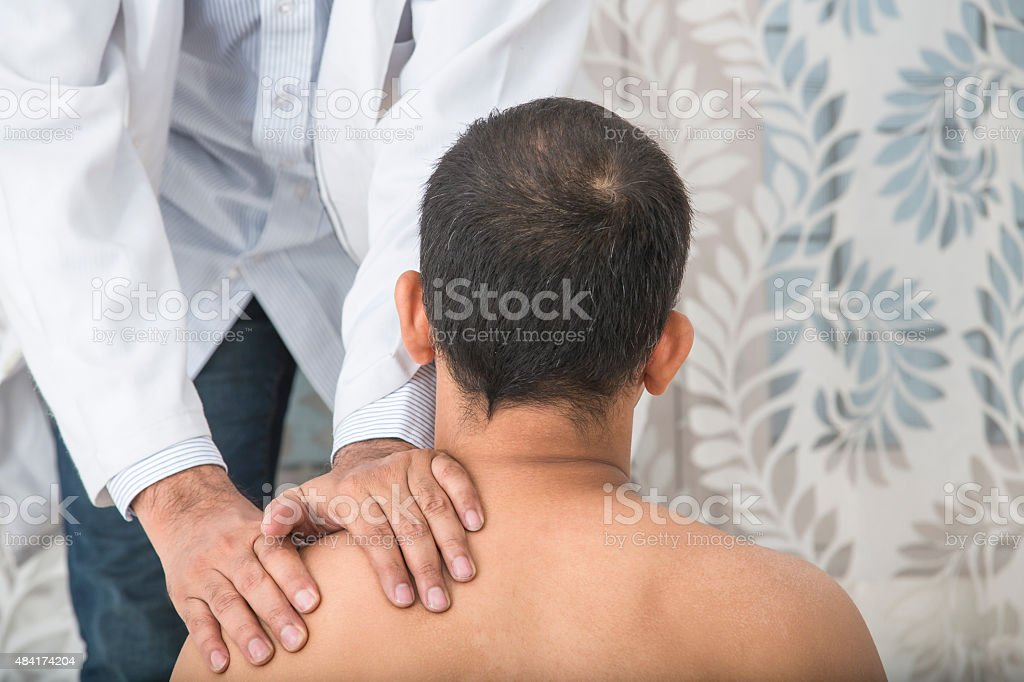 Physical Therapist Series: back and shoulders stock photo