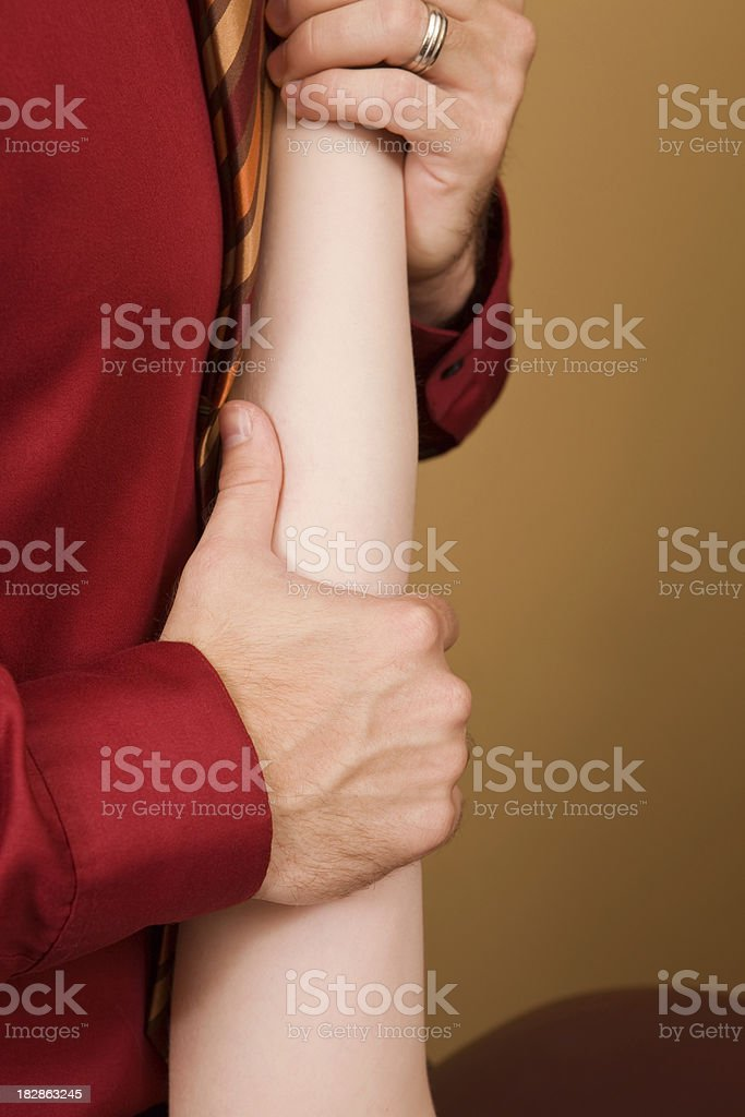 Physical Therapist Working a Female Elbow stock photo