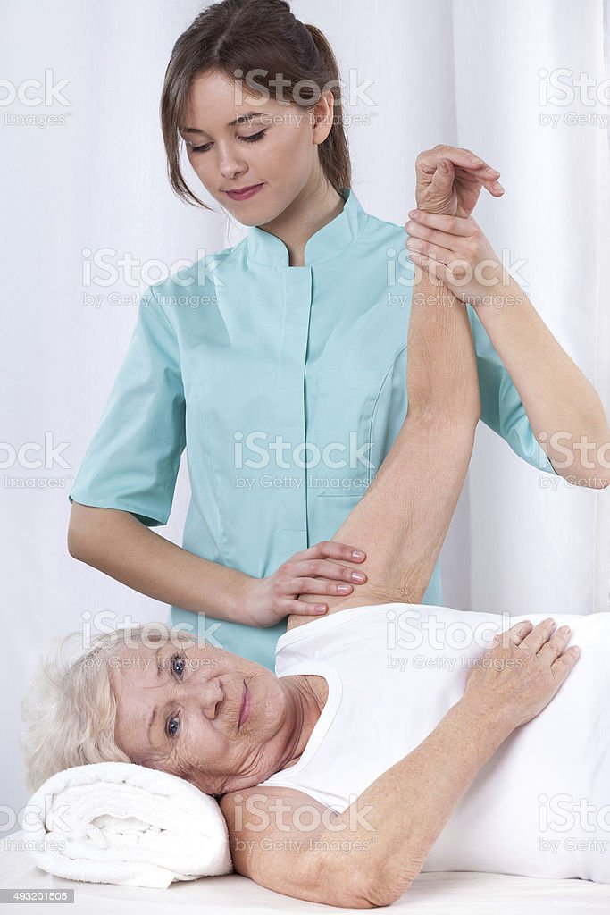 Physical therapy for arm stock photo