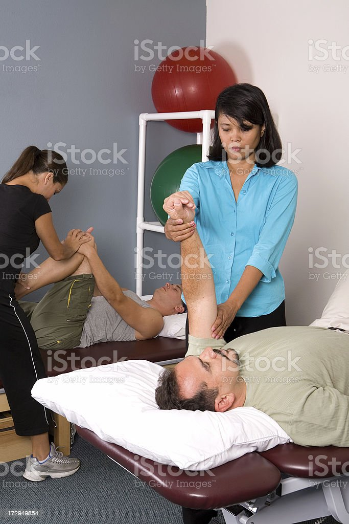 physical therapy group stock photo