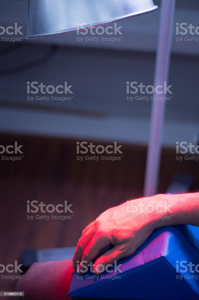 Physical therapy heat lamp  physiotherapy stock photo