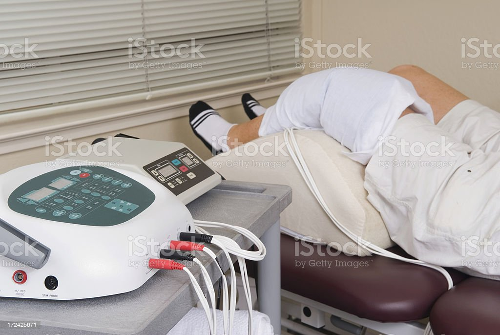 Physical Therapy Series - Ice and Electical Stimulation stock photo