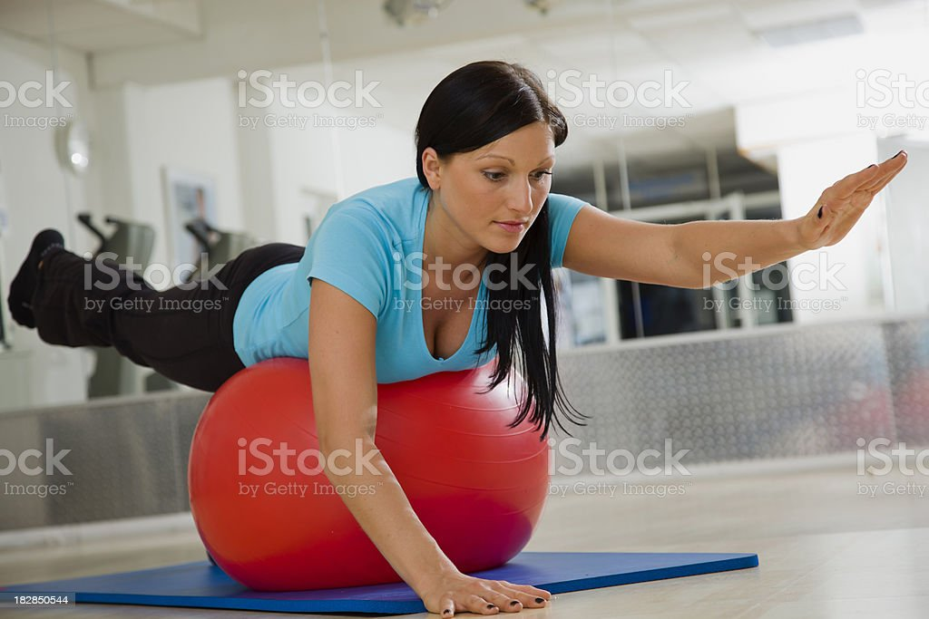 Physical Therapy with Exercies Ball royalty-free stock photo