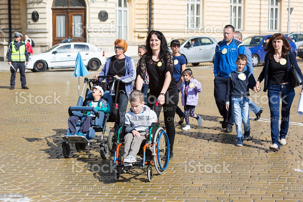 Physically and mentally disabled people stock photo