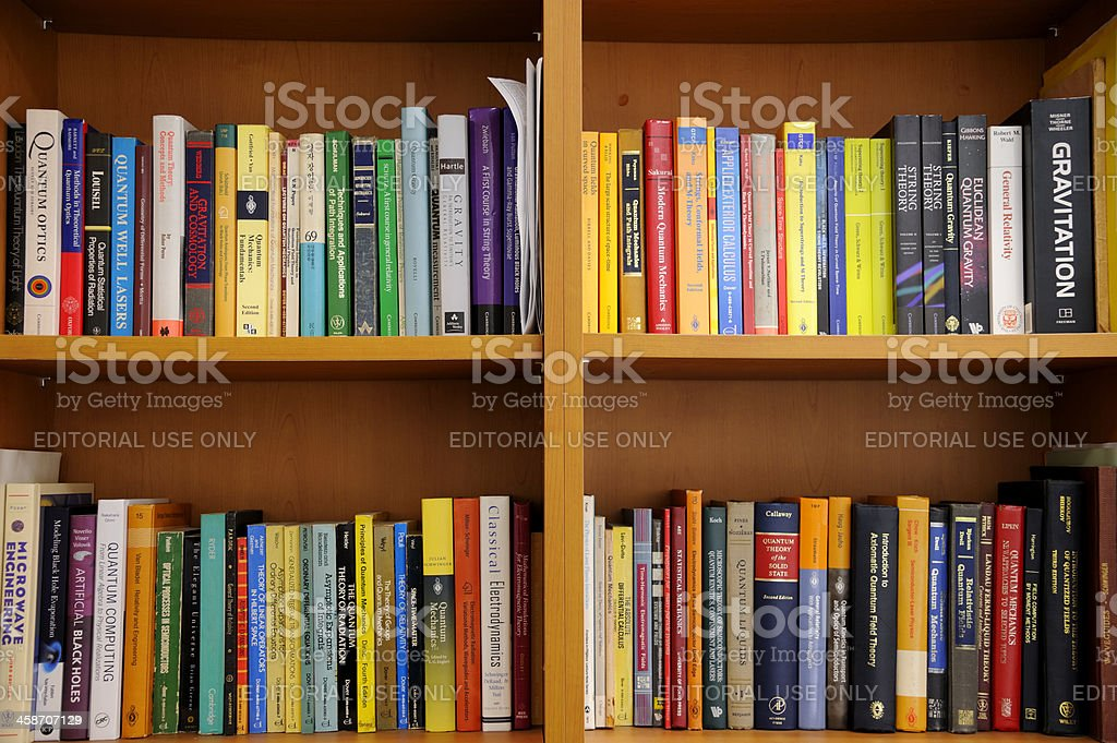 Physicist's bookshelf royalty-free stock photo