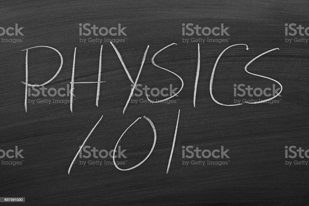 Physics 101 On A Blackboard stock photo