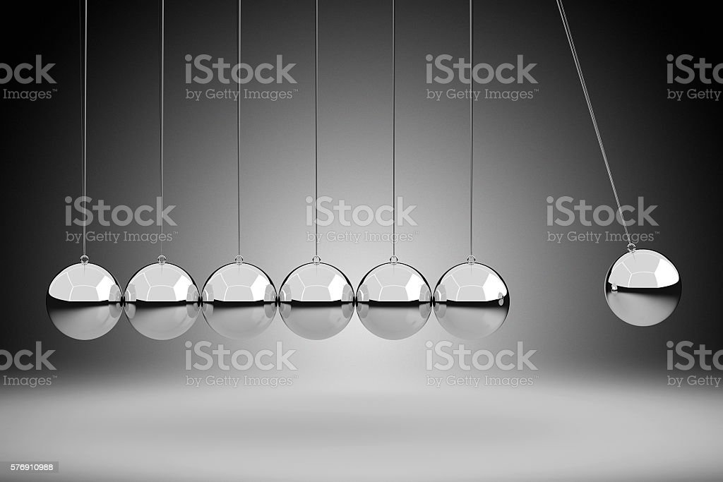 Physics Concept by Newton's Cradle, 3D Rendering stock photo