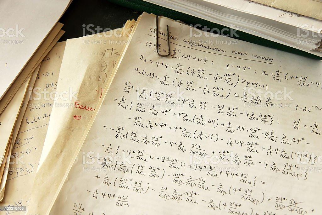 Physics formulas royalty-free stock photo