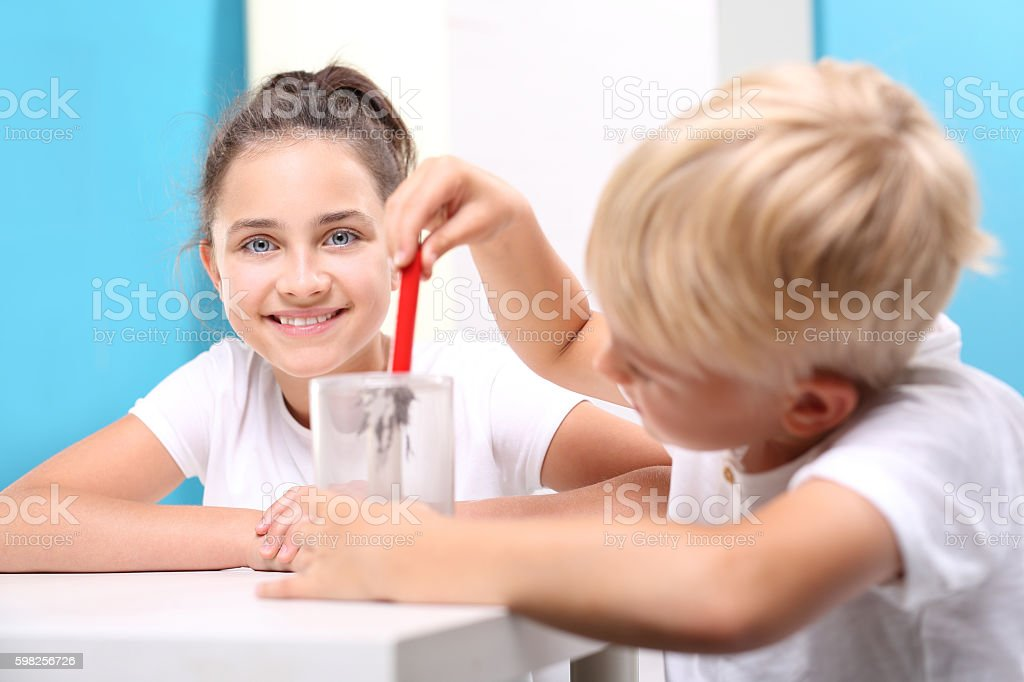 Physics in school. A magnetic field. Young explorer. stock photo